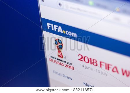 Ryazan, Russia - March 01, 2018 - Official Page Of 2018 Fifa World Cup Russia At The Display Of Pc
