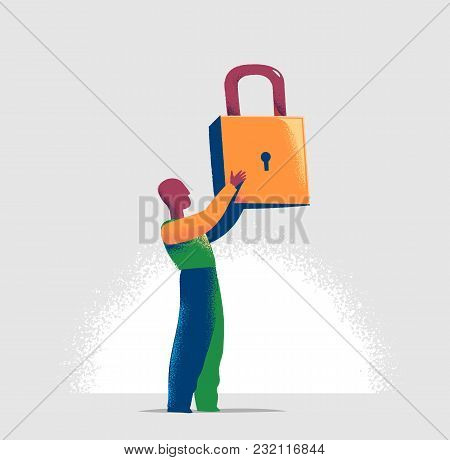 Torso Of A Manager Is Locking One Virtual Lock In A Lineup Of Open Padlocks. Business Metaphor And T