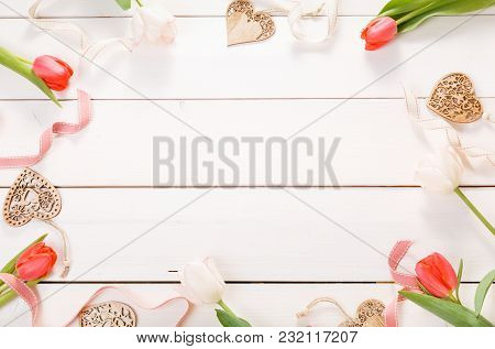 Flowers Composition. Frame Made Of Pink Flowers On White Background. Valentine's Day. Flat Lay, Top