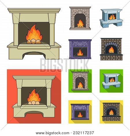 Fire, Warmth And Comfort.fireplace Set Collection Icons In Cartoon, Flat Style Vector Symbol Stock I