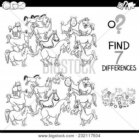 Differences Game With Farm Horses Coloring Book