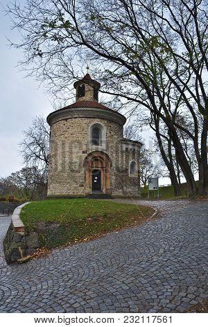 Rotunda Of St. Martin In Vysehrad, Prague. Sights Of The Autumn Czech Capital.