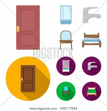 Door, Shower Cubicle, Mirror With Drawers, Faucet.furnitureset Collection Icons In Cartoon, Flat Sty