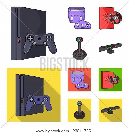 Game Console, Joystick And Disc Cartoon, Flat Icons In Set Collection For Design.game Gadgets Vector