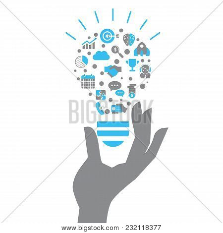 Lightbulb With Business And Finance Icons. Isolated Vector Illustration.