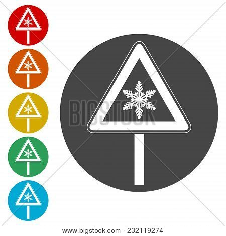 Traffic Sign, Snow Ahead Traffic Sign, Simple Icons Set