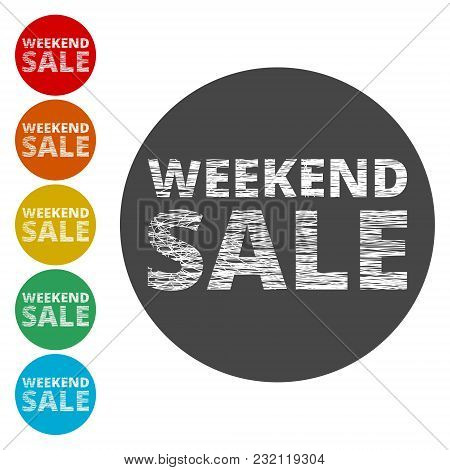 Weekend Sale Sign, Simple Icons Set On White Background