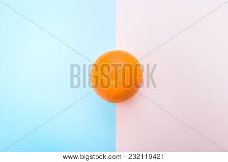Orange On Pastel Background. Minimal Abstract Style.