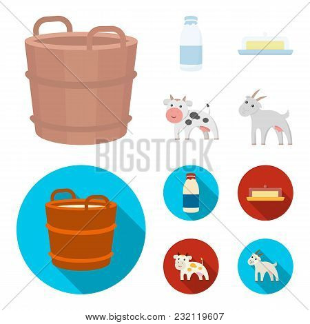 A Barrel Of Milk, Butter, A Cow. Milk Set Collection Icons In Cartoon, Flat Style Vector Symbol Stoc