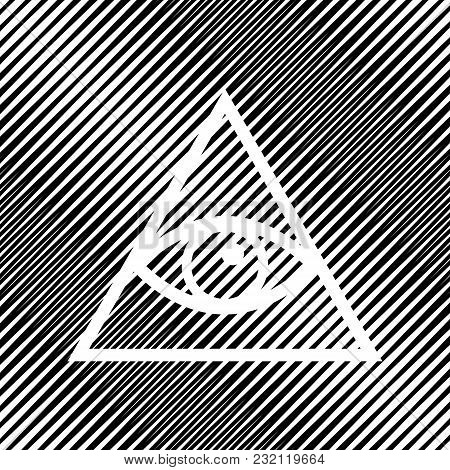 All Seeing Eye Pyramid Symbol. Freemason And Spiritual. Vector. Icon. Hole In Moire Background.