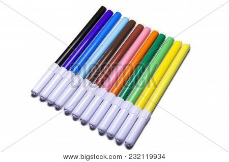 Multicolored Marker Pens, Office And School Drawing Art Design