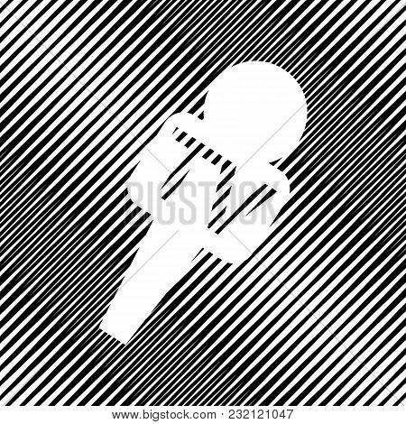 Tv Microphone Sign Illustration. Vector. Icon. Hole In Moire Background.