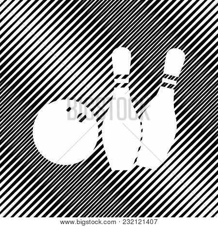 Bowling Sign Illustration. Vector. Icon. Hole In Moire Background.