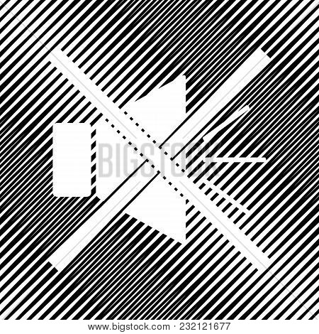 Sound Sign Illustration With Mute Mark. Vector. Icon. Hole In Moire Background.