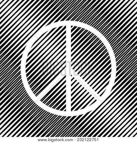 Peace Sign Illustration. Vector. Icon. Hole In Moire Background.
