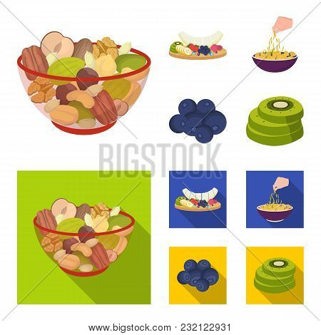 Assorted Nuts, Fruits And Other Food. Food Set Collection Icons In Cartoon, Flat Style Vector Symbol