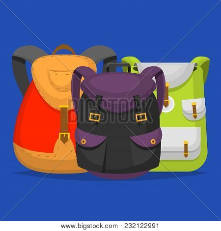 Back To School Kids Backpack Vector Illustration Work Time Education Baggage Rucksack Learning Educa
