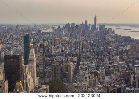 Aerial View Of Manhattan Skyline In The Evening Summer.