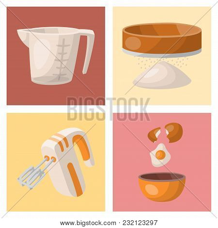 Baking Pastry Prepare Cooking Ingredients Kitchen Cards Utensils Homemade Food Preparation Baker Vec