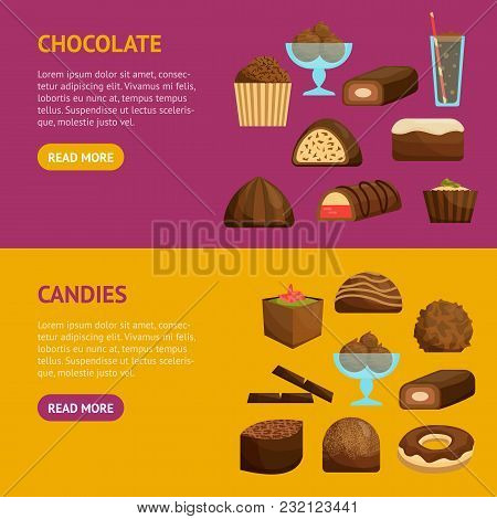 Chocolate Sweets Banner Horizontal Set Include Of Candy, Dessert, Donut, Cake And Muffin . Vector Il