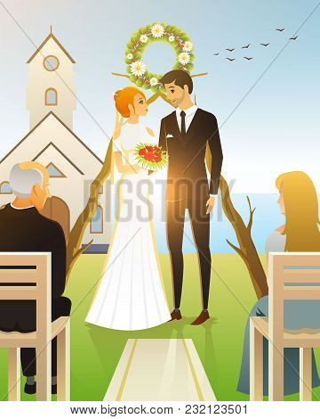 Bride And Groom. Wedding Ceremony On The Beach By The Sea. Newlyweds, Couple At Church Door. Vector