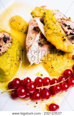Roasted Chicken Stuffed With Mushrooms Served With Vegetable Puree Or Mashed Vegetables And Red Curr