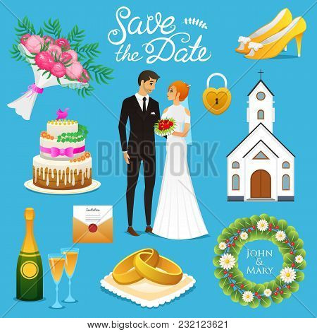 Bride And Groom. Wedding Ceremony Set. Newlyweds Icons. Vector Illustration. Married Couple, Summer.
