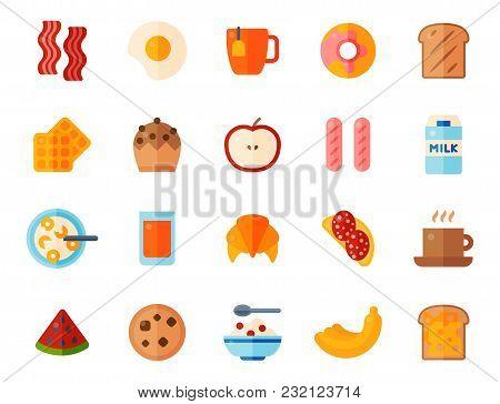 Breakfast Healthy Food Meal Icons Drinks Flat Design Bread Egg Lunch Healthy Meat Menu Restaurant Ve