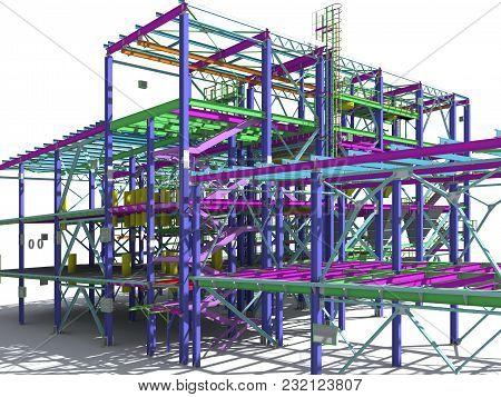 3D Rendering-models Of Industrial Buildings From Metal. Engineering Background. Industrial Backgroun