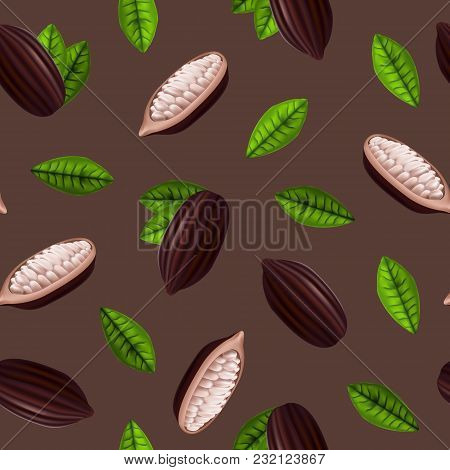 Realistic 3d Fresh Raw Cocoa Beans Seamless Pattern Background With Leaves Plant Ingredient Chocolat