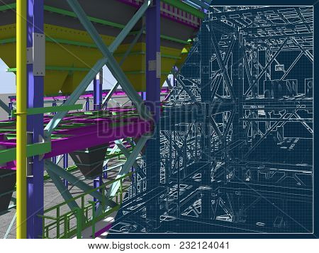 3D Rendering And Drawing On A Blue Background Of Metal Buildings. Engineering Background. The Archit