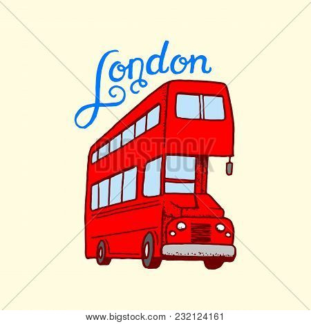 British, Bus In London And The Gentlemen. Symbols, Badges Or Stamps, Emblems Or Architectural Landma
