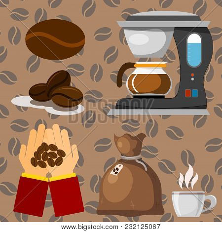 Coffee Plantation Beans Drink Cafe Coffee-bean Cocoa Farmer Plantation Coffeemaker Vector Illustrati
