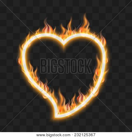 Flaming Heart. Fire On A Dark Background. The Concept Of Love Or Hatred.  Vector Illustration. Eps 1