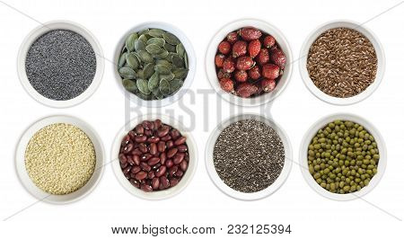 Set Of Superfood Isolated On White Background. Superfood With Copy Space For Text. Seeds Of Flax, Po