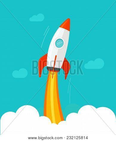Rocket Ship Flying Vector Illustration, Flat Cartoon Comic Design Or Rocketship Launch, Missile Flig