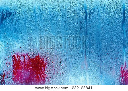 Water Droplets Condensation Background Of Dew On Glass Window, Humidity And Foggy Blank Background.