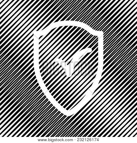 Shield Sign As Protection And Insurance Symbol. Vector. Icon. Hole In Moire Background.