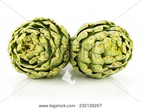 Fresh Globe Artichoke Flowers Isolated On White Background Raw Two Green