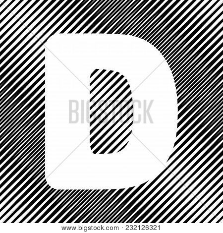 Letter D Sign Design Template Element. Vector. Icon. Hole In Moire Background.