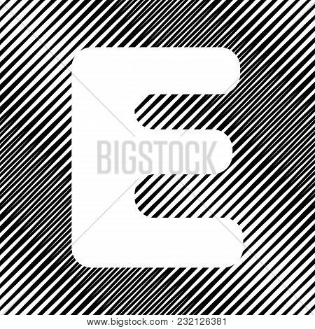 Letter E Sign Design Template Element. Vector. Icon. Hole In Moire Background.