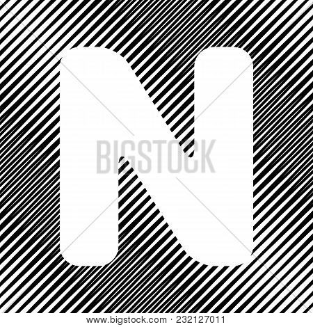 Letter N Sign Design Template Element. Vector. Icon. Hole In Moire Background.