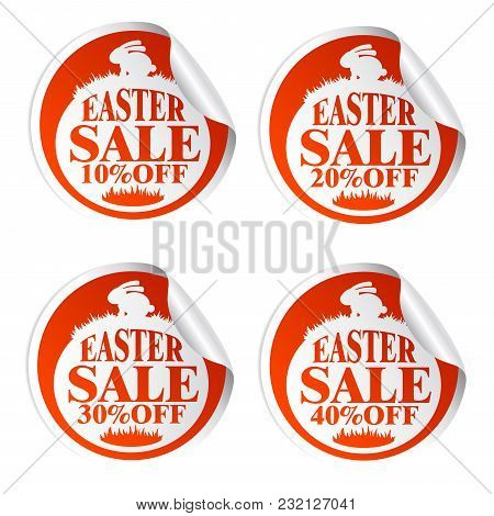Easter Sale Stickers 10,20,30,40 With Rabbit.vrector Illustration