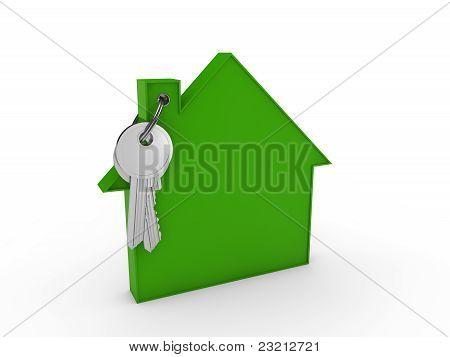 3D House Key Green
