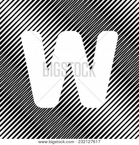 Letter W Sign Design Template Element. Vector. Icon. Hole In Moire Background.