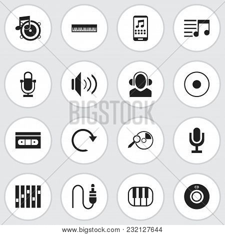Set Of 16 Editable Multimedia Icons. Includes Symbols Such As Piano, Record, Bass And More. Can Be U