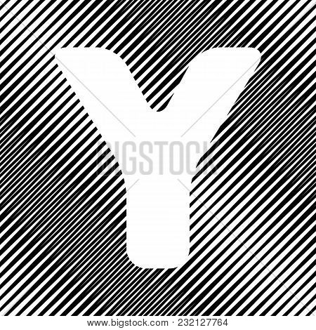Letter Y Sign Design Template Element. Vector. Icon. Hole In Moire Background.