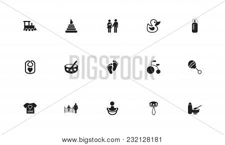 Set Of 15 Editable Child Icons. Includes Symbols Such As Bib, Duck, Child Food And More. Can Be Used