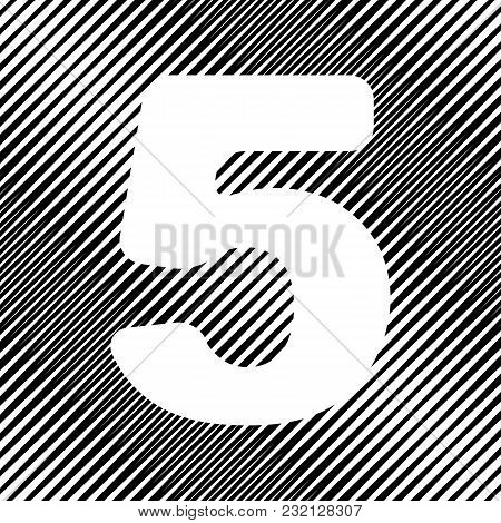 Number 5 Sign Design Template Element. Vector. Icon. Hole In Moire Background.