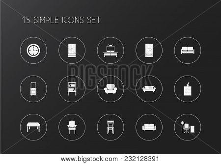 Set Of 15 Editable Interior Icons. Includes Symbols Such As Elbow Chair, Sofa, Pier Glass And More.